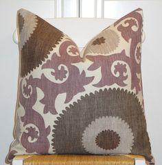 Beautiful Decorative Pillow Cover - 20x20 - Suzani - Throw Pillow - Accent Pillow - Purple - Gray - Walnut Brown - Grape. $47.00, via Etsy.