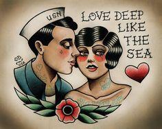 Love deep like the sea tattoo idea. Old school, vintage, cute, romantic, sailor, love
