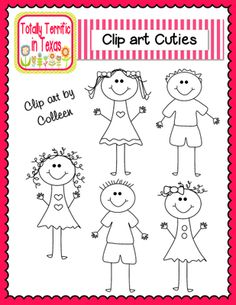 Clip Art Cuties from Totally Terrific in Texas on TeachersNotebook.com -  (5 pages)  - Stick Figure Clip Art