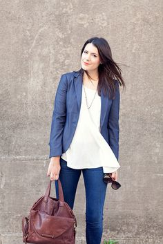 business casual / could make slightly more formal with black or colored pant, but simple blouse and blazer look