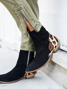 Last Outlaw Ankle Boot | Western-inspired suede ankle boots featuring a contrast printed calf-hair accent in back and a pointed toe. Stacked heel and inside exposed zip for an easy on-off.