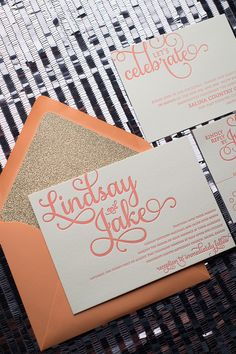 Coral and Gold Glitter Wedding Invitations