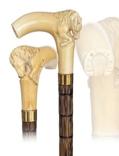 "English Ivory Horse Cane-Circa 19th Century-L-shaped and curving ivory horse handle on a stepped partridge shaft and a metal ferrule. The depiction has something of a flying horse from a merry-go-round and is remarkable. Original condition.-H 4"" x 3 ½"""