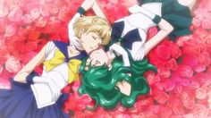 Sailor Uranus and Sailor Neptune in the Sailor Moon Crystal season 3 ED. Pretty. <3 And so... Utena-esque.