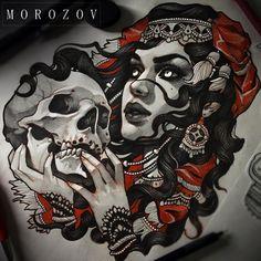 "6,037 Likes, 34 Comments - Vitaly Morozov (@mvtattoo) on Instagram: ""#tattoo#tattoosketch#sketch#art#tattooart#flash#tattooflash#drawing#blackandgrey#portrait#femaleportrait#skull#witch#girl#face#morozov#mvtattoo##эскиз#эскизытатуировок#тату#татуировка#портрет#морозов#мв"""