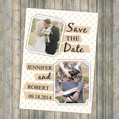 Created for you by ElegantWeddingInvites' professional designers, our sweet couple photo save the date designs are the perfect way to announce your wedding day. All Save The Dates are printed on standard 110 lb paper and are fully customizable. It is also available to add a custom backer to include more photos or more information. If you have any questions or special requests for your Save The Date, let us know how we can help at service@elegantweddinginvites.com.    card typeSizeouter en...
