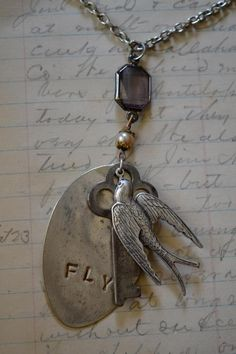 Hammered spoon, bird,  key charm necklace