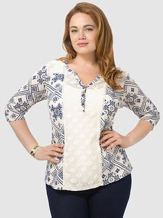 Campbell Lace Mixed Top by Lucky Brand,Available in sizes 1X-3X