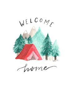 Lámina acuarela camping Bienvenido a casa por adventureandthewild