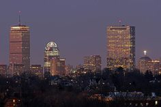 Boston skyline at Twilight...shows John Hancock building and the Prudential Center,Jamaica Plain in the foreground..Photographed from Bussey Hill in the Boston Arnold Arboretum (by Juergen Roth)