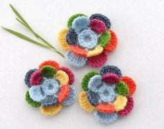 Items similar to Crochet Applique - Multicolored Flowers - Poppy Flowers - Any Colour - Made to Order on Etsy Crochet Flower Patterns, Flower Applique, Crochet Motif, Crochet Flowers, Hand Crochet, Knit Crochet, Yarn Flowers, Crochet Appliques, Crochet Crafts