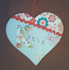 Personalised large named hanging heart £4.50