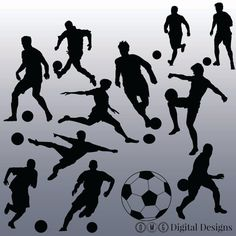 12 Soccer Silhouette Clipart Images Clipart by OMGDIGITALDESIGNS