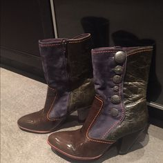 """True Religion boots Super unique multi colored True Religion """"Hilda"""" patchwork boots/booties. Mid calf high , 3 tones leather patchwork, a blue / purple suede, brown patent leather, olive leather with orange stitching and true religion buttons on the side. Gently used and overall in great condition, some signs of wear on the sole and some minor scratches, 3.5"""" heel. Please let me know if you need additional info or pictures. What can I say,these boots are super comfortable and worn in+will…"""