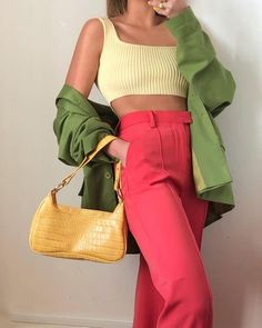 Colourful Outfits, Colorful Fashion, Cute Casual Outfits, Summer Outfits, Mode Purple, Mode Pastel, Mode Pop, Color Blocking Outfits, Moda Vintage