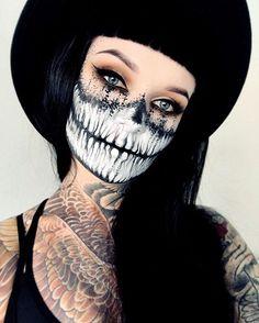 Is it Halloween yet?! took @chrisspy's half skull look & dot worked it out a bit! @meltcosmetics RUST Stack / @suvabeauty Dark Humor / @unicornlashesuk Raven / @kryolanofficial both Aqua & Supracolor Palettes / @limecrimemakeup Black Velvet #meltcosmetics #kryolan #limecrime