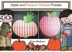 Counting & number recognition: activities: Pumpkin & apple number puzzles.  Super-fun way to practice counting forwards, backwards, plus skip counting by 2s & 10s.