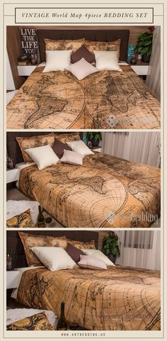 Vintage world map bedding 1626 antique map of north and south ancient world map 1746 bedroom decor vintage interior vintage map bedding set this is a 4 piece bedding set that includes a vintage world map duvet cover gumiabroncs Choice Image