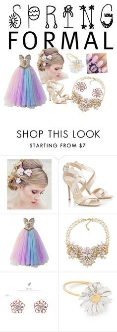 """""""spring formal"""" by nakitastarnes ❤ liked on Polyvore featuring Jimmy Choo, Bob Mackie, Carolee, kitsch island and Alex Monroe"""