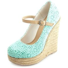 Charlotte Russe Crocheted Lace Mary Jane Espadrille Wedges ($39) ❤ liked on Polyvore featuring shoes, heels, wedges, mint, mary jane platform shoes, wedge espadrilles, mint wedge shoes, espadrilles shoes and mint green shoes