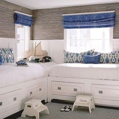 An adorable boys room designed by @waterleafinteriors. We love the under the bed storage! What do you think?