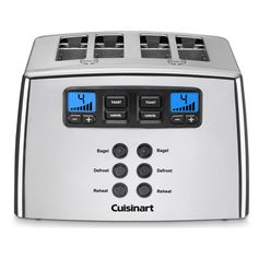 Toast a variety of food with this four-slice toaster from Cuisinart. A silver finish, seven setting and leverless design complete this toaster. The toaster's power cord stores neatly under the machine
