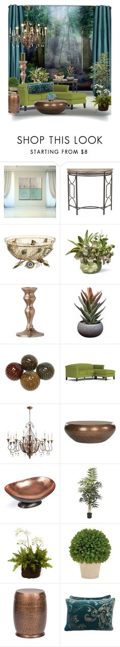 """Blue & Green w/Metal Accents"" by craftygeminicreation ❤ liked on Polyvore featuring interior, interiors, interior design, home, home decor, interior decorating, Ready2hangart, Safavieh, Pier 1 Imports and National Tree Company"