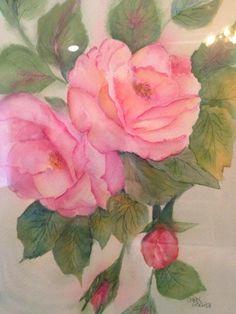 Hanging roses, watercolor 9 x 12 by Carol Gerlach