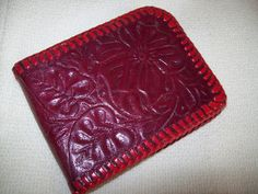 Vintage 1950s RARE Deep Red Tooled Leather by atomicbettiescloset