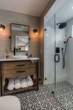 Get inspired by Modern Bathroom Design photo by Spazio LA Designs. Wayfair lets you find the designer products in the photo and get ideas from thousands of other Modern Bathroom Design photos. Bathroom Renos, Budget Bathroom, Bathroom Remodeling, Vanity Bathroom, Remodeling Ideas, Wood Vanity, Bathroom Cabinets, Bathroom Layout, Bathroom Wall