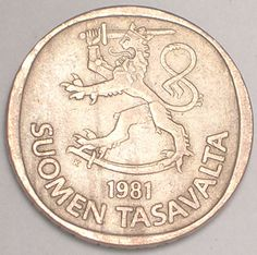 Finland National Lion. The Finnish currency before the European Union was MARKKA. Now it is Euro.