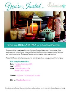 You are invited!! I am beyond thrilled to be hosting this incredible event with Mary Hoff our Vice President of Sales! If you are CURIOUS about anything as it pertains to Bellaroma please join us. I can guarantee you will be inspired and energized after you listen to Mary. Please help me and share this invite with your friends, co-workers, family and acquaintances. I can personally attest to the amazing foundation of this company as I have had the honor of meeting them all.  630.926.4509