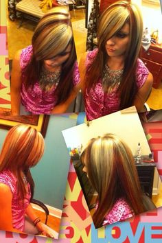 Brown red blonde hair! 3 colors! Foils! Barbara Wolfe Tucker