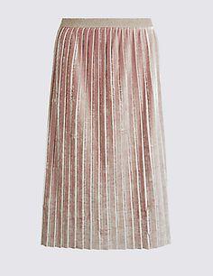 Crushed Velvet Pleated A-Line Midi Skirt | M&S