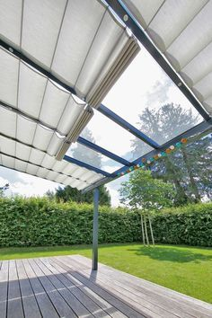 Custom sunshade system for winter garden, terrace and pergola -> protection system gard Pergola Attached To House, Pergola With Roof, Outdoor Pergola, Pergola Lighting, Wooden Pergola, Covered Pergola, Backyard Pergola, Patio Roof, Pergola Kits