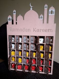 Ramadan Calendar wooden box for candies - 4 different colors available + custom color. For children kids ramadan decor Ramadan Activities, Activities For Kids, Crafts For Kids, Decoraciones Ramadan, Paper Box Template, Ramadan Gifts, Islam For Kids, Ramadan Decorations, Kitchen Ornaments