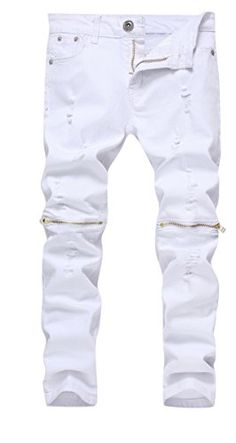 Boys White Slim Fit Skinny Jeans Ripped Elastic Waist Pants with Zipper for Kids 8 *** For more information, visit image link.Note:It is affiliate link to Amazon.
