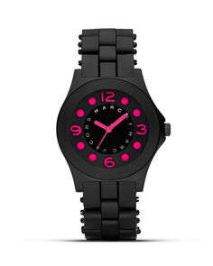 MARC BY MARC JACOBS Pelly Black and Pink Silicon Watch, 36.5mm | Bloomingdales