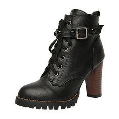#Oasap - #oasap Block Heels Lace up Buckle Strap Rivet Boots - AdoreWe.com