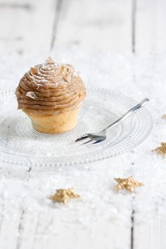mont blanc cupcakes with chantilly cream and chestnut glaze