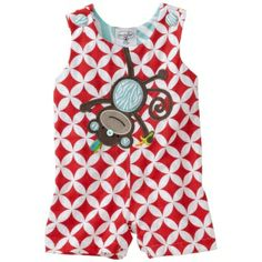 Your little monkey is going to love wearing this adorable jon jon featuring a cute monkey. Little boys shortall is made from textured cotton that is printed with a bold red/white pattern. The monkey applique hangs upside down and eats a banana while your little boy plays like a monkey on his jungle gym. Jon jon for little boys also features inner leg snap closures making it easy to change baby boy's diaper. This monkey outfit is sure to be your little monkey's favorite outfit this season.