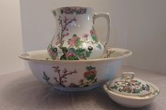 Antique Pearl Pottery Hanley England Floral Pitcher and Bowl Set | eBay