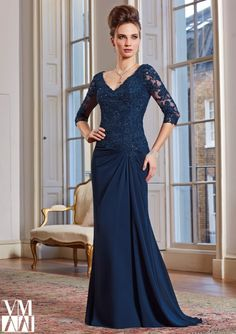 Evening Gowns and Mother of the Bride Dresses by Morilee. Larissa Satin Evening Gown/Mother of the Bride Dress with Beaded Lace Appliques Mob Dresses, Dressy Dresses, Bridal Dresses, Bridesmaid Dresses, Party Dresses, Dress Party, Summer Dresses, Chiffon Evening Dresses, Formal Evening Dresses