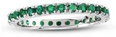 Emerald Eternity Anniversary Wedding Band in 14K White Gold #bride #wedding #jewelry #bridaljewelryideas