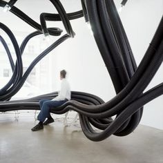 Since 2002, Belgian designer Sebastien Wierinck has been creating his installations of sculptural furniture made of flexible polyethylene tubes. From public benches to cafe seating to temporary installations, his pieces always challenge the way people view and interact with environmental space. (via Broccoli City)