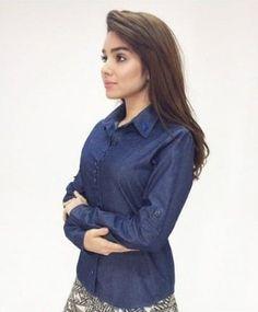 170018 - Camisa Jeans com Bordado Industrial