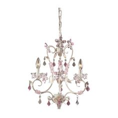 Pretty small chandelier for a girl's room.