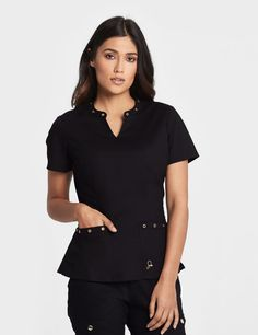 The Eyelet Top in Black is a contemporary addition to women& medical scrub outfits. Shop Jaanuu for scrubs, lab coats and other medical apparel. Lab Coats For Men, Scrubs Outfit, Black Scrubs, Womens Scrubs, Eyelet Top, Medical Scrubs, Scrub Pants, Cute Outfits, Clothes For Women