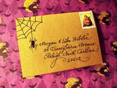 """My """"Fancy Script"""" writing style with hand-drawn spider & web.  www.calligraphybycarrie.com"""