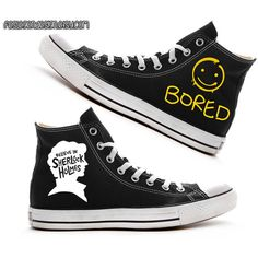 Sherlock 'Bored' Painted Shoes / Custom Converse ($70) ❤ liked on Polyvore featuring shoes, converse, sherlock, sneakers, converse shoes, converse footwear, acrylic shoes and lucite shoes
